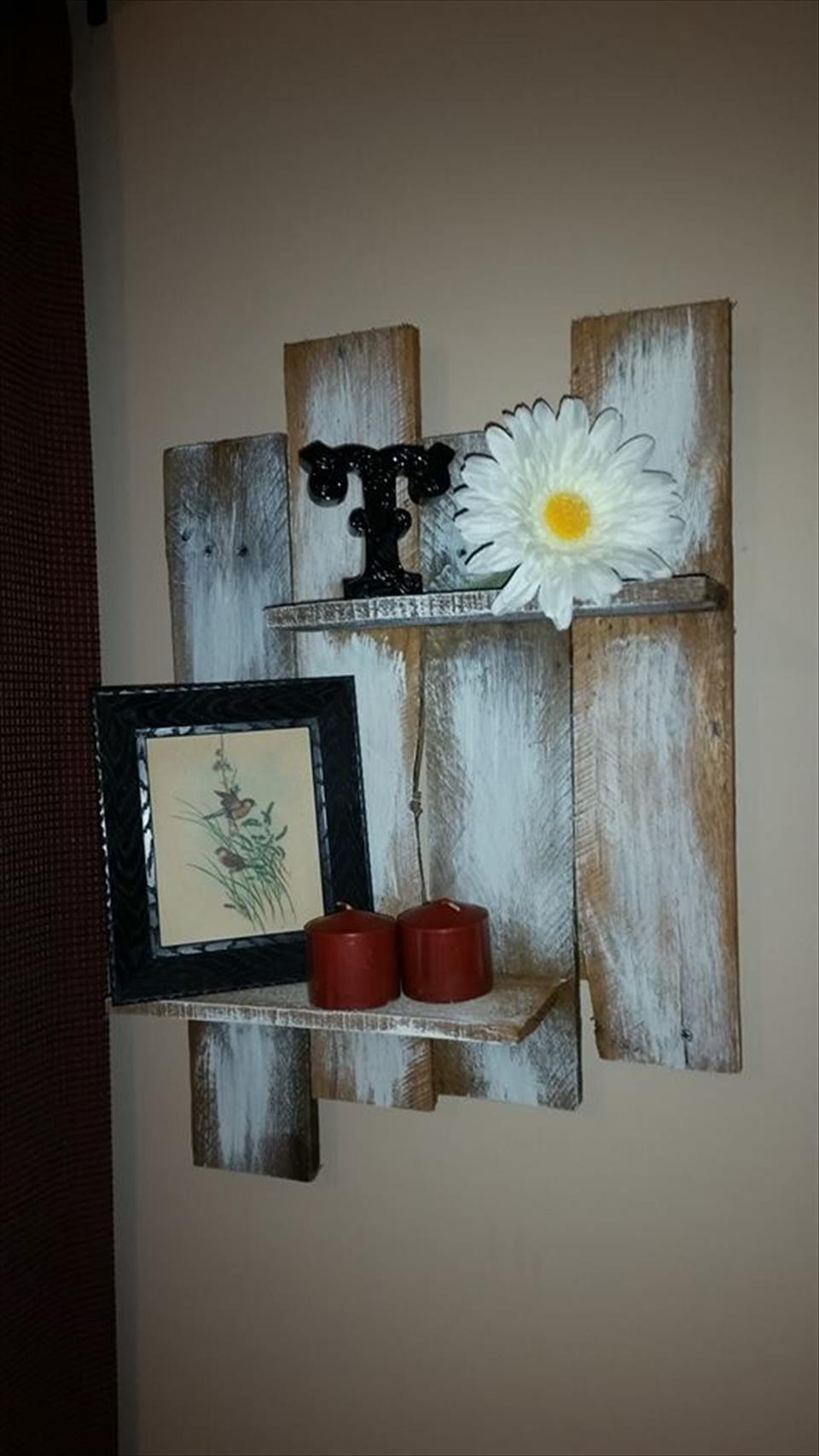 recycled pallet wall hanging shelf unit