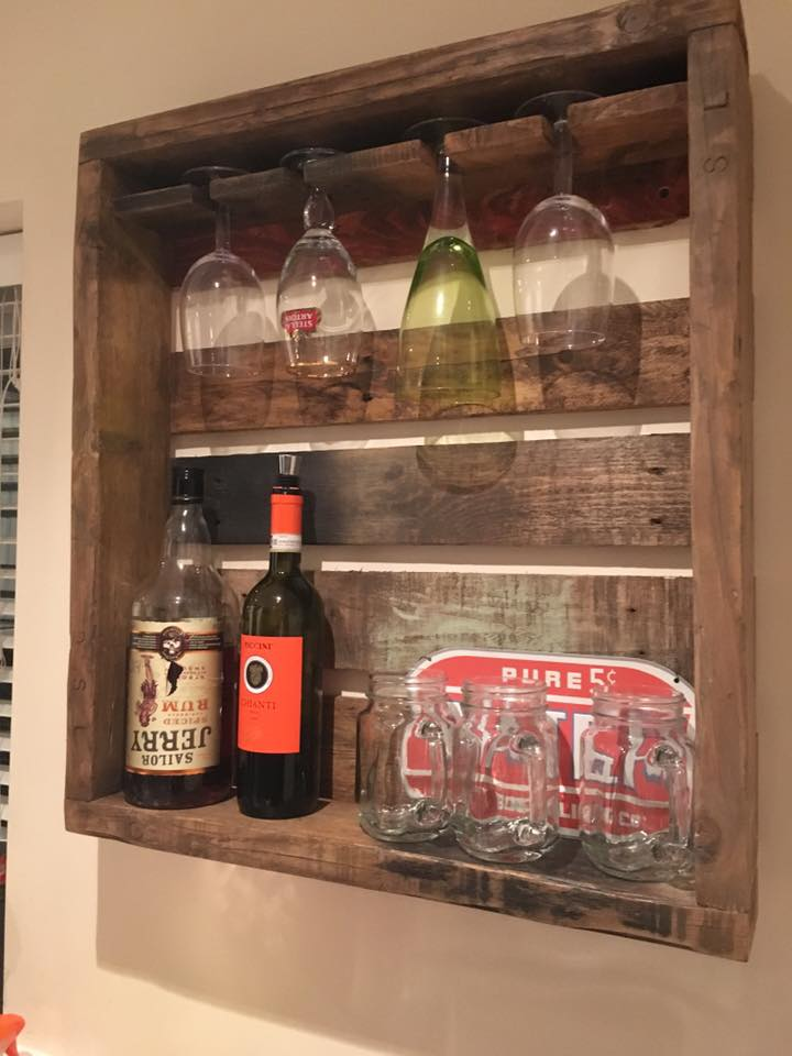 wooden pallet beverage bottle shelf